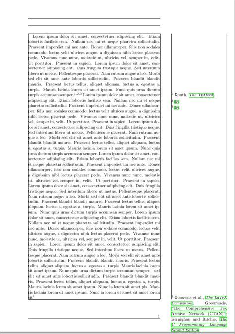 footnote format in latex biber biblatex footnotes to margin tex latex stack