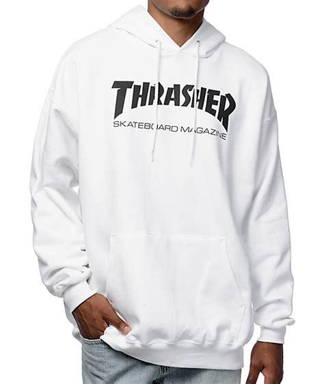 Hoodie Sweater Thrasher Skateboard Magazine thrasher skate mag white pullover hoodie