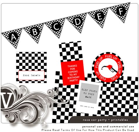 printable race car party decorations free race car printables patterned paper food labels cup