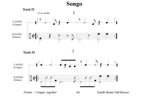 drum pattern scores salsa beat drums congas