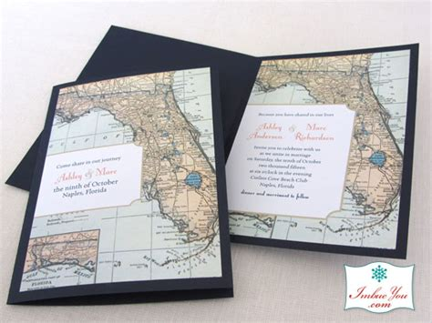 florida wedding vintage map invitation handmade in your colors imbue you i do - Florida Destination Wedding Invitations