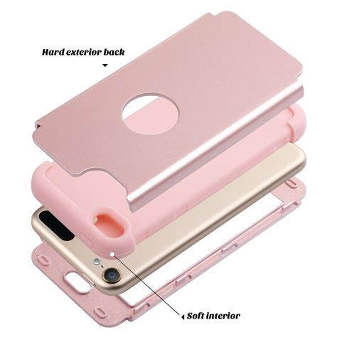 Hardcase Pc Soft Touch Doff Gold Cover Casing Iphone 7 Plus new gold 3in1 hybrid shockproof pc silicone cover for ipod touch 5 6 ebay