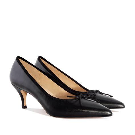 tip black leather heeled shoes alonai 109 90