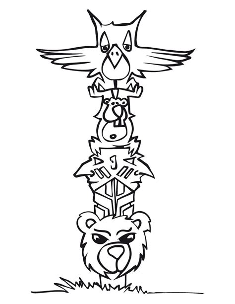 Free Printable Totem Pole Coloring Pages For Kids Totem Pole Colouring Pages