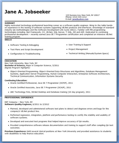Quality Engineering Resume Sles Quality Engineer Resume Template Resume Downloads