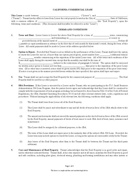 printable commercial lease agreement free printable california commercial lease agreement