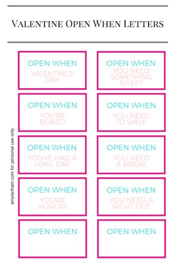 Open When Letters Printable