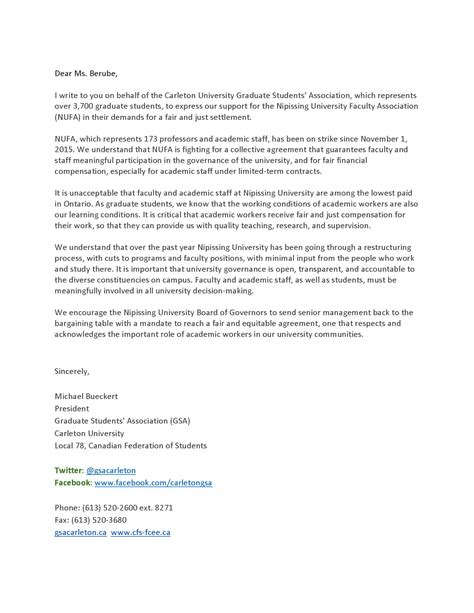 Support Letter For Graduate School Letters Of Support Nufa Strike