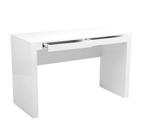 Modern High Gloss Lacquer Office Desk Estyle 25 In White Modern White Office Desk