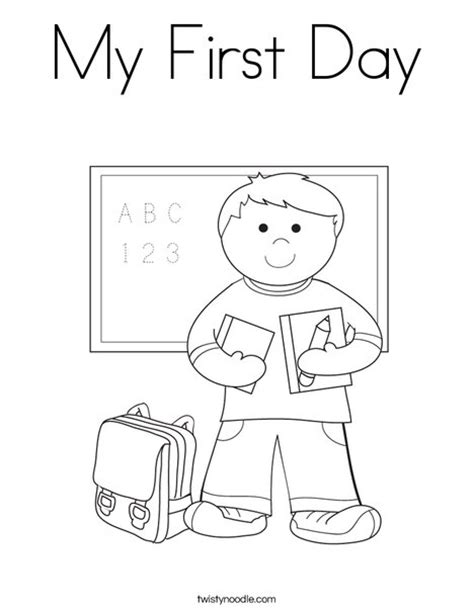 print this coloring page itll print full page my first day coloring page twisty noodle