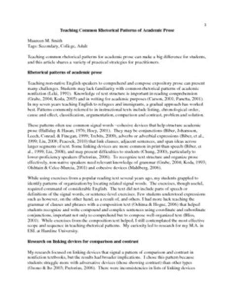 rhetorical pattern english teaching common rhetorical patters of academic prose