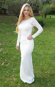 long white lace dress with sleeves oasis amor fashion