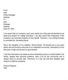 Scholarship Letter Of Recommendation From Employer Exles Sle Letter Of Recommendation For Scholarship 29 Exles In Word Pdf