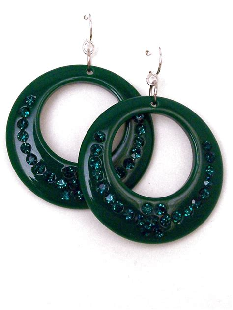 Rhinestone Hoop Earrings green rhinestone acrylic hoop earrings large hoop earrings