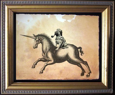 vintage pug pug unicorn vintage collage print by teastainedmadness