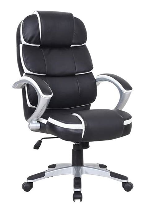 black and white desk chair high back white leather executive swivel office chair with