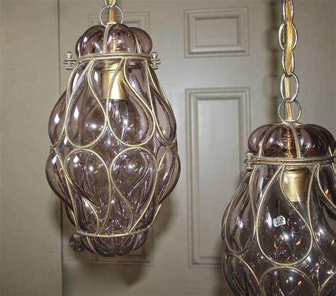 Venetian Glass Pendant Light Pair Of Venetian Murano Amethyst Caged Glass Pendant Or Lantern Ceiling Lights For Sale At 1stdibs
