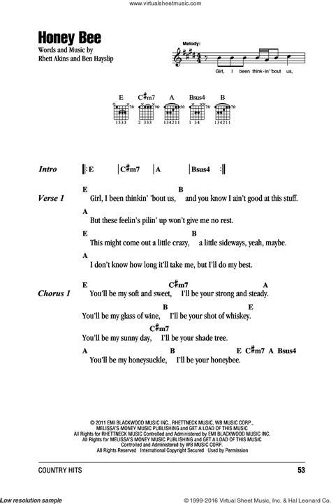 printable lyrics honey bee blake shelton shelton honey bee sheet music for guitar chords