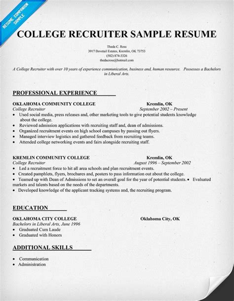 recruiter resume template college recruiter resume sle college