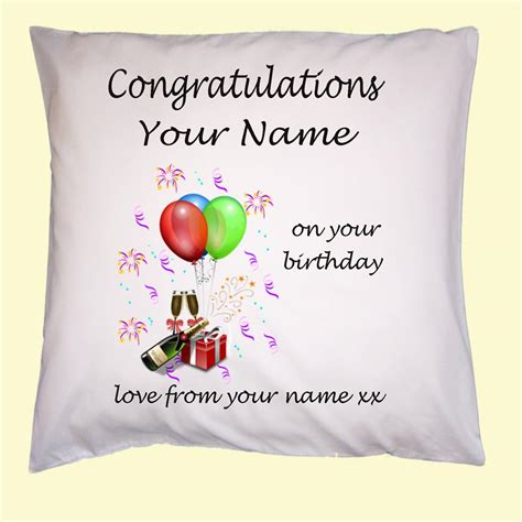 personalised 18th 21st birthday gift cushion cover any