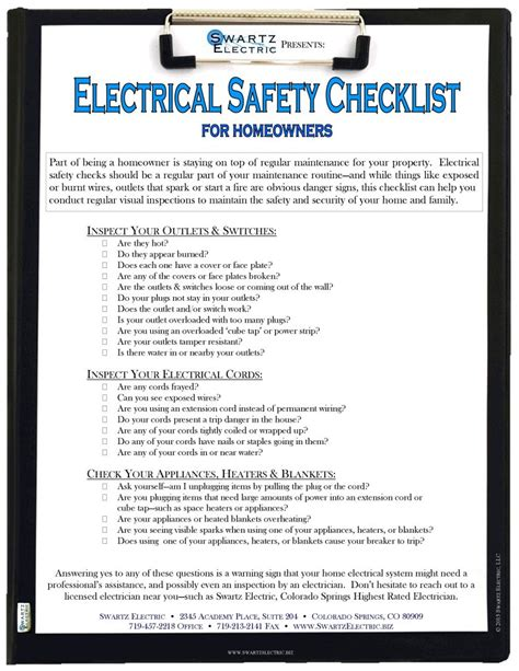 electrical safety checklist electrician colorado springs