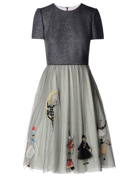 valentino circus cotton and silk dress in gray lyst