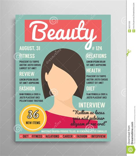 design magazine vector magazine cover template about beauty fashion and health