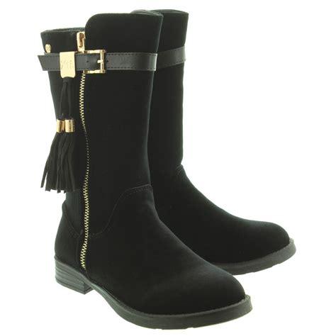 xti footwear 55108 velvet knee boots in black in black