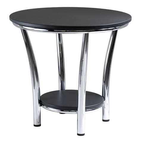 contemporary accent table new contemporary round side end table modern style decor shelf chrome black top ebay