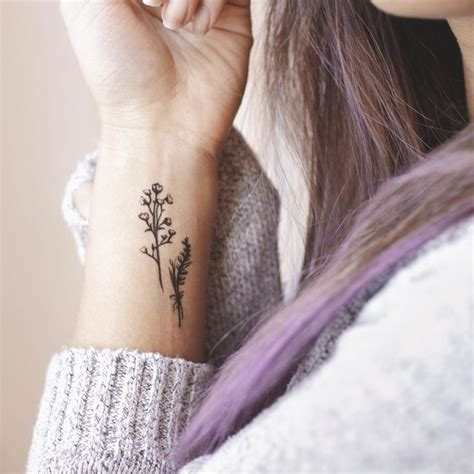dainty flower tattoo dainty floral purple hair minimalist