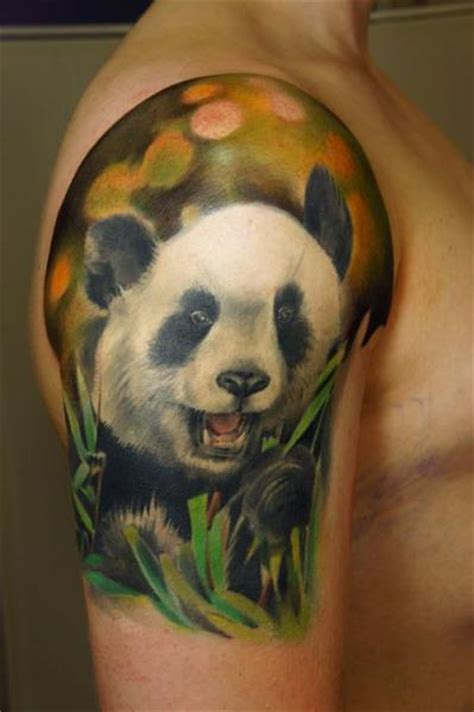 Panda Tattoo Realistic | shoulder realistic panda tattoo by grimmy 3d tattoo