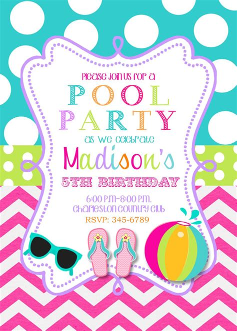 pool birthday invitations printable or by noteablechic