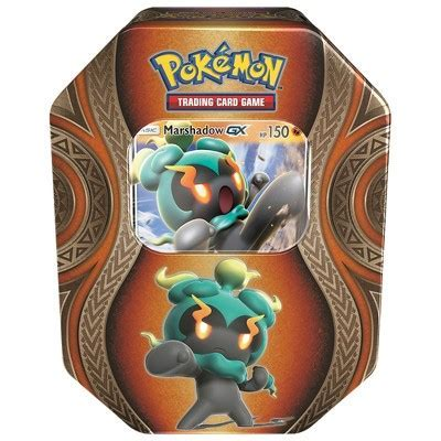 Pokemon GX Fall Tin Trading Card Game featuring Marshadow