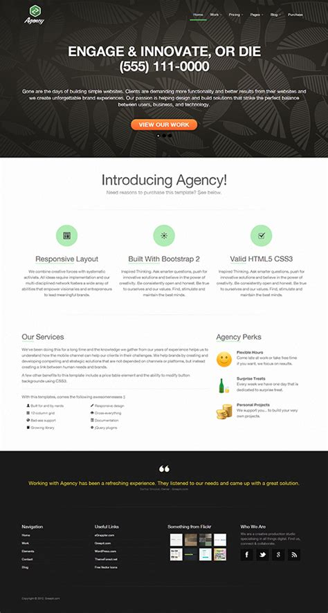 templates for twitter bootstrap agency is a responsive html5 business po 無料 レスポンシブ