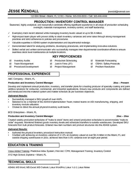 Inventory Manager Resume by Exle Production And Inventory Manager Resume Free Sle
