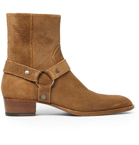 laurent suede harness boots in brown for lyst