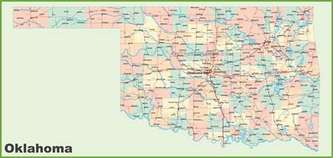 roadmap of oklahoma road map of oklahoma with cities