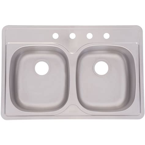 Kitchen Sinks Lowes Shop Aquasource 22 In X 33 In Satin Basin Stainless Steel Drop In Kitchen Sink At Lowes