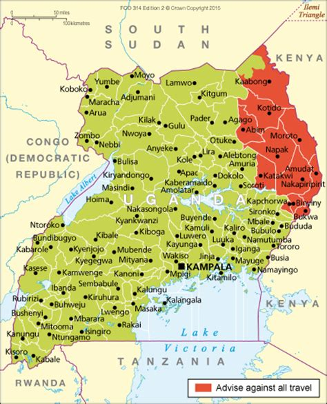 map of uganda uganda travel advice gov uk
