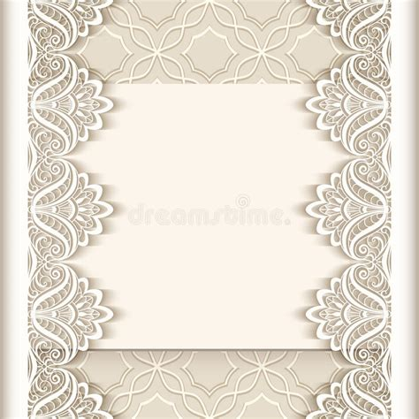 paper lace templates card vintage paper background with lace borders stock vector