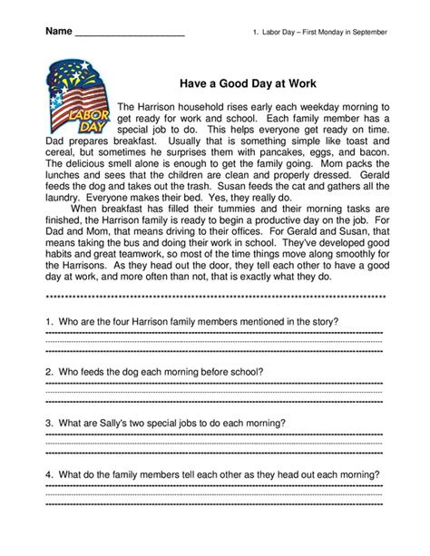 Comprehension Worksheets With Questions by Story With Comprehension Questions Reading