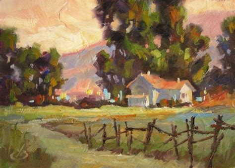 rural farm house landscape by tom brown original 5x7 painting by artist tom brown