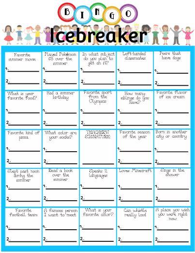 breaker bingo template bingo icebreaker