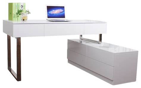 White Modern Desks J M Furniture Kd12 Modern Office Desk In White Contemporary Desks And Hutches By Beyond Stores