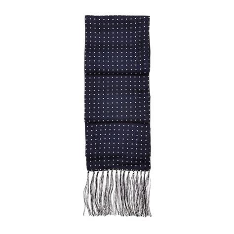 Navy Polka Scarf s polka dot silk scarf in navy aspinal of