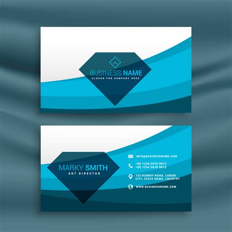wave business card template free word blue wave business card template design with shape