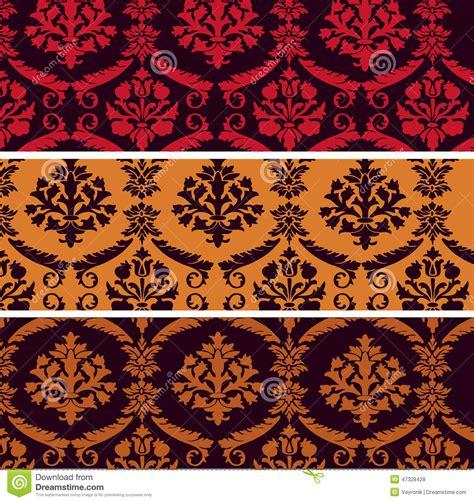 colorful damask wallpaper set of vintage damask horizontal banners stock vector
