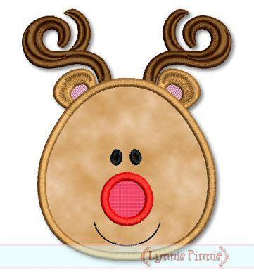 simple reindeer face applique mini 4x4 5x7 6x10 svg
