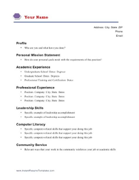 Academic Resume Outline Academic Resume Template