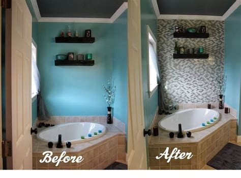 Diy Bathroom Tile Ideas by Diy Glass Tile Accent Wall In Master Bathroom Hometalk